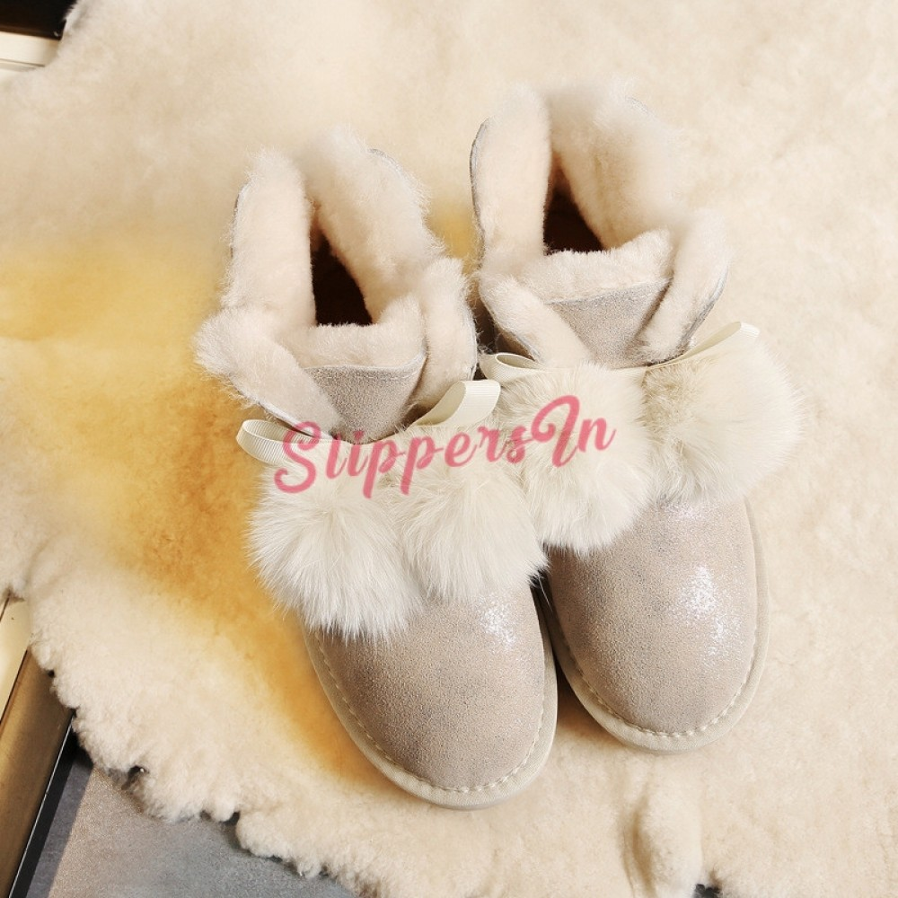 Ladies Slippers Womens Ankle Boots New Pompom Winter Warm Fur Booties Size 3-9