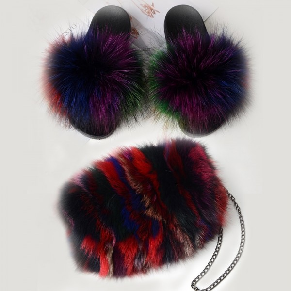 Colorful Fur Slides with Matching Fur Chain Bag Set
