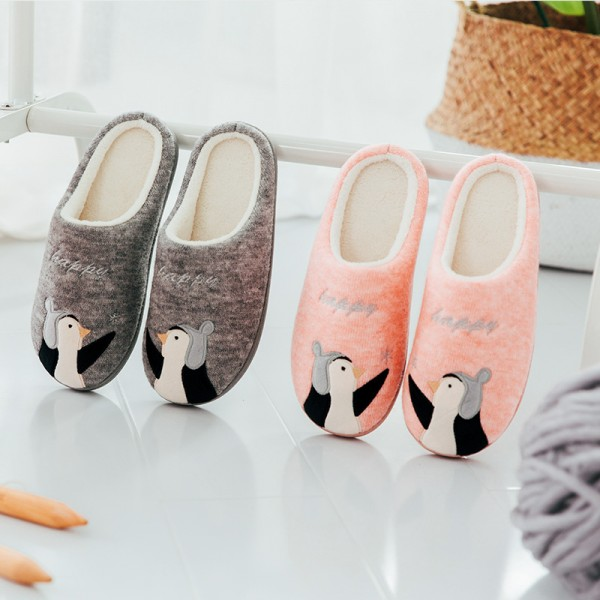 Cute Penguin Scuff Slippers for Adults and Kids Fleece House Slippers