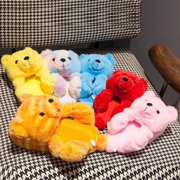 Open Toe Teddy Bear Slippers for Adults and Kids