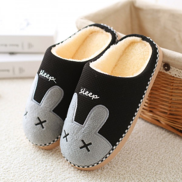Scuff Slippers for Men and Women Warm Bunny Hoodback House Slippers