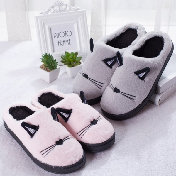 Cute Cat Slippers for Women and Men Warm Plush House Shoes