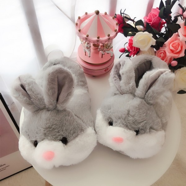 Cute Women's Bunny Slippers Pink Adults Fuzzy House Shoes