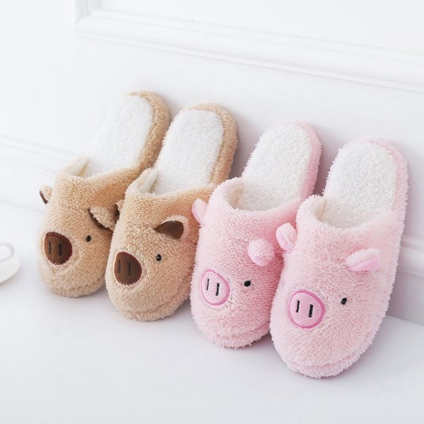 Cute Pig Slippers for Women and Men Fuzzy House Scuff Slippers