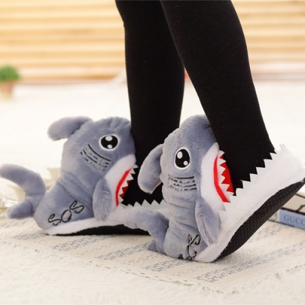 Shark Slippers for Adults Grey Cartoon Animal Slippers