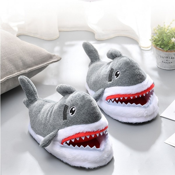 Shark Animal Slippers for Adults Grey Cartoon Slippers