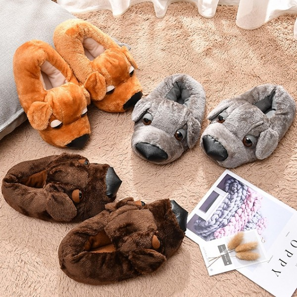 Cute Dog Slippers for Adults Fuzzy Animal Slipper Shoes