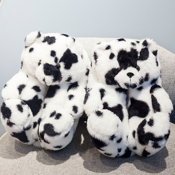 Teddy Bear Slippers for Adults Cow Color Teddy House Shoes