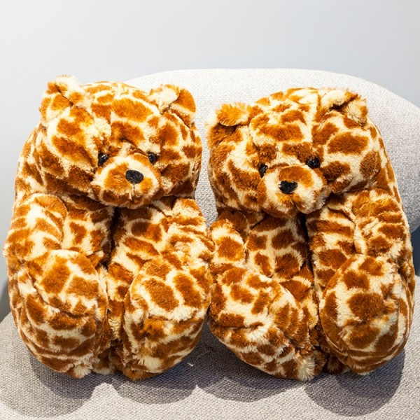 Leopard Teddy Bear Slippers for Adults Winter Teddy House Shoes
