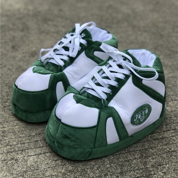 Green Sneaker Slippers for Adults Puffy Bedroom House Shoes