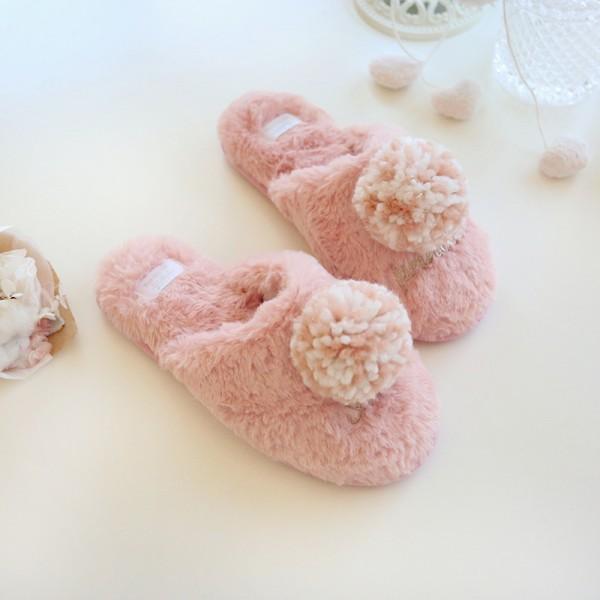 Cute Womens Pom Pom Slippers Girls Fuzzy Pink Scuffette Slippers