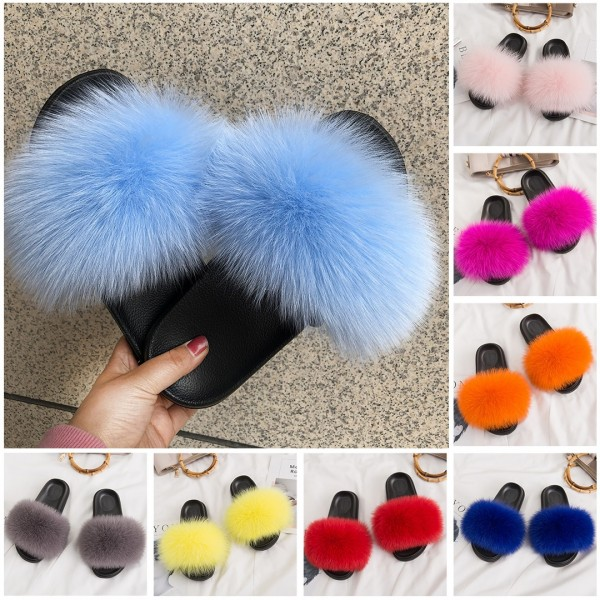 Cute Fox Fur Slides for Girls and Toddlers Pink Kids' Furry Slides