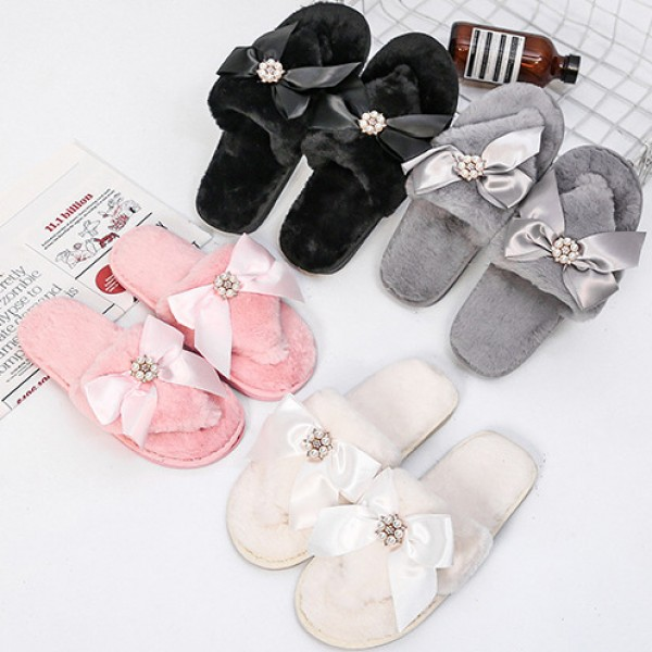 Women's Fuzzy Flip Flops with Bow and Pearls Warm Thong