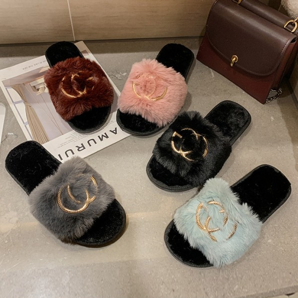 Women's Fluffy Slides with Letters Embroidered Fuzzy Slide Slippers