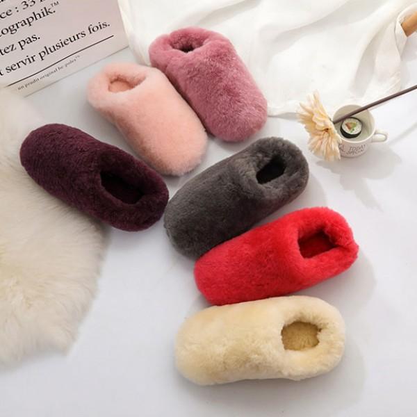 Women's Wool Scuff Slippers Hoodback Warm House Slippers