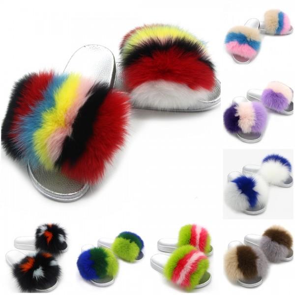 New Rainbow Fox Fur Slides Silver Sole Furry Sandals