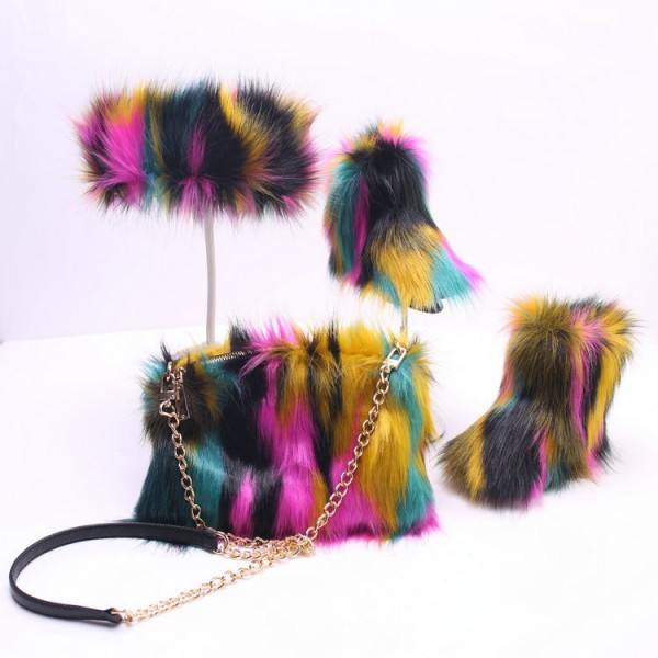 Women's Fluffy Faux Fur Boots Set Rainbow Color with Matching Fur Purse and Headband