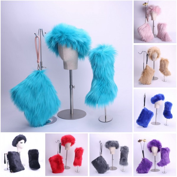 Faux Fox Fur Boots Solid Color Set for Women with Matching Furry Purse and Headband