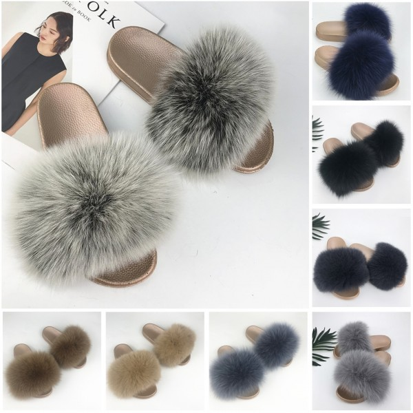 Grey Fox Fur Slides Chic Women's Fluffy Furry Slippers