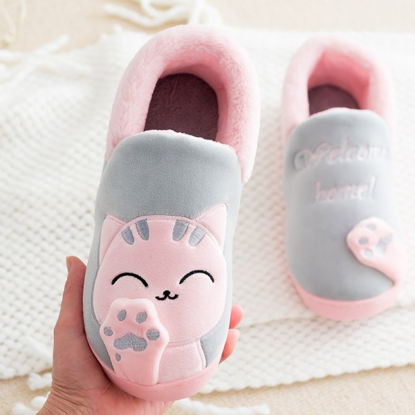 Cute House Shoes for Women Pink Kitty Cat Fuzzy Slippers