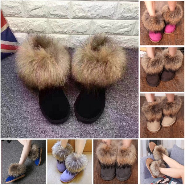 Chic Women's Fox Fur Snow Boots Fluffy Suede Winter Ankle Boots
