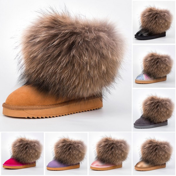 Women's Short Fluffy Fur Boots Suede Ankle Booties with Fur Toppers