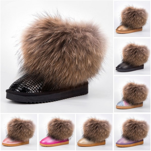 Women's Fur Boots Glossy Leather Flat Ankle Boots with Big Fur Trim