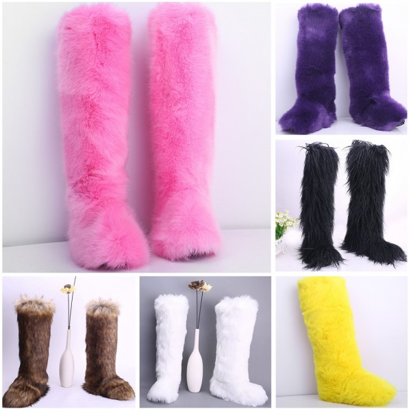 Women's Faux Fur Boots Fluffy Long Over The Knee Boots