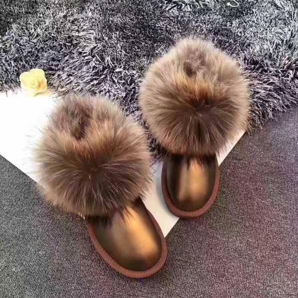Glossy Women's Fox Fur Boots Leather Water Resistant Snow Boots