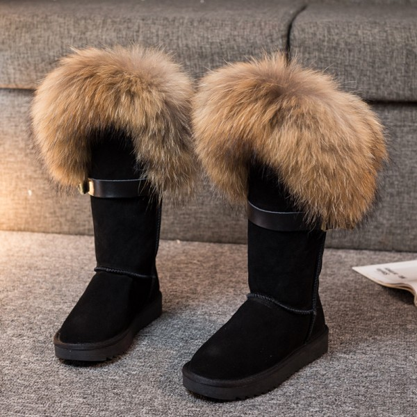 Luxury Women's Fur Boots Fluffy Tall Suede Winter Boots