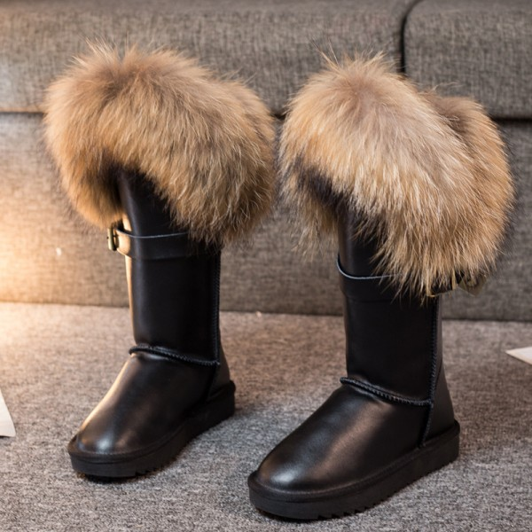 Glossy Women's Fur Boots Leather Wide Calf Winter Boots