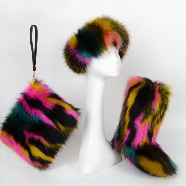 Fluffy Rainbow Faux Fur Boots Set with Matching Furry Purse and Headband
