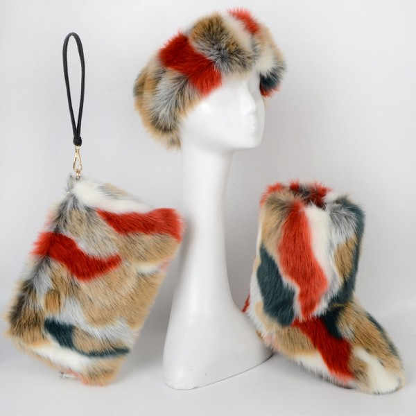 Faux Fur Boots Set with Matching Furry Purse and Headband Brown Green Furry Boots