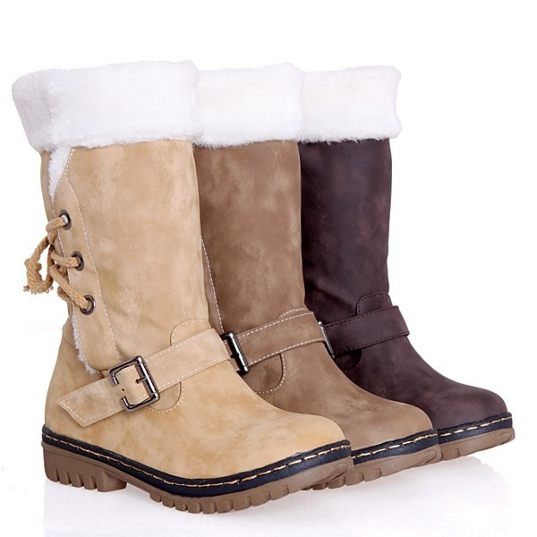 Women's Snow Boots Faux Fur Mid Calf Waterproof Leather Winter Boots