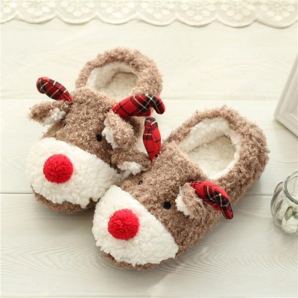 Women's Christmas Slippers Reindeer Fleece Warm House Shoes