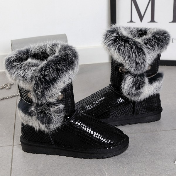 Women's Black Boots with Fur Trim Flat Leather Suede Mid-Calf Boots