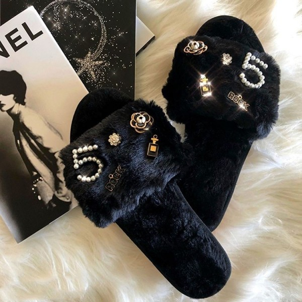Black Fuzzy House Slippers with Pearl Embellishments