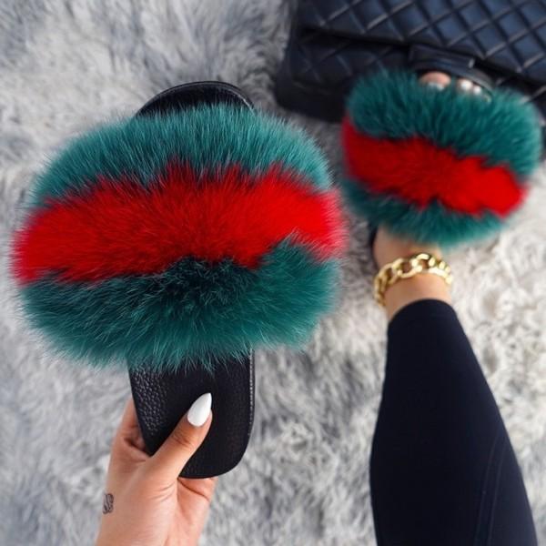 Women's Fox Fur Slides Rainbow Color Open Toe Furry Slippers