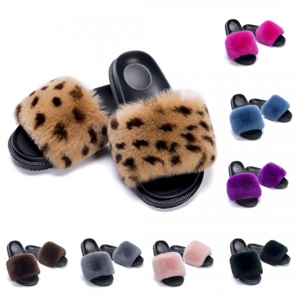 Women's Leopard Print Fur Slides Open Toe Slippers