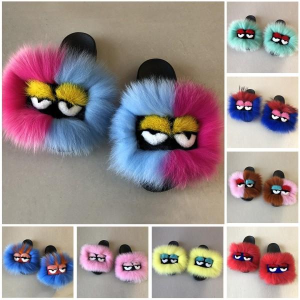 Women's Fur Slides Cute Bird Eyes Flat Slide Sandals