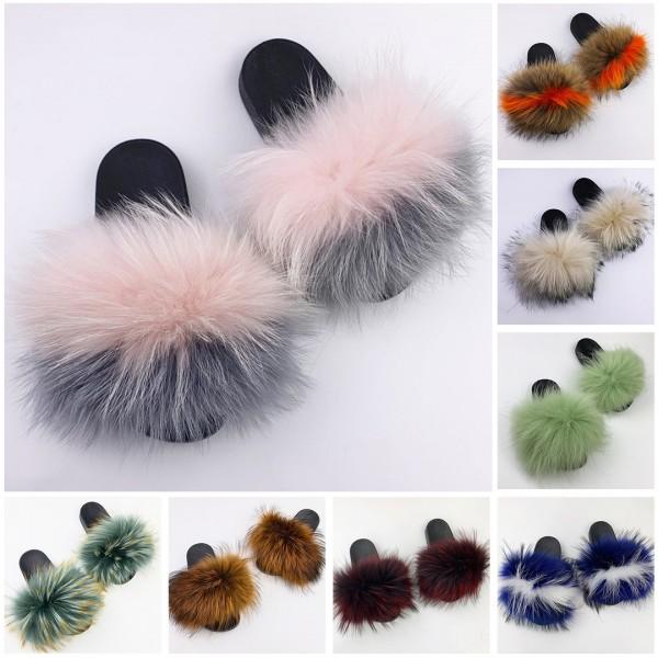 Women's Fur Fluffy Slides Multi Colors Outdooor Open Toe Fuzzy Slippers