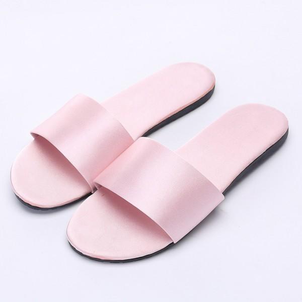 Womens Silk House Slippers Simple Ladies Pink Bedroom Slipper
