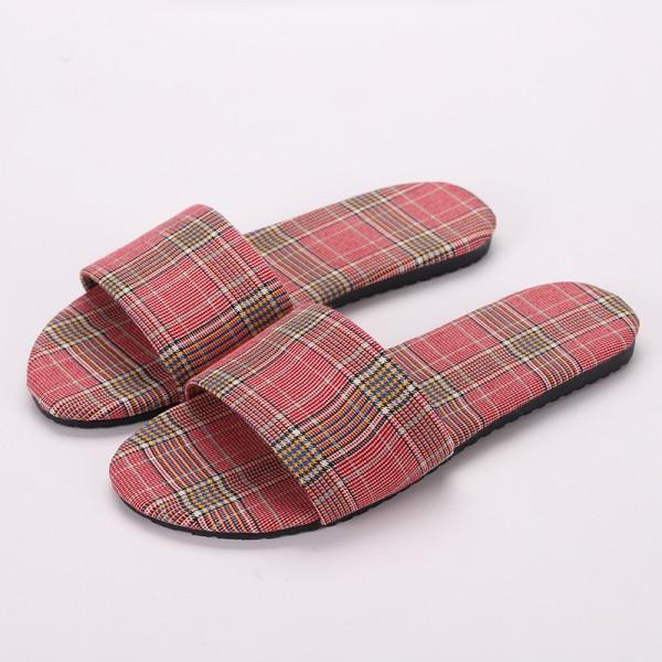 Fashion Womens Slippers Plaid Cloth House Ladies Slippers