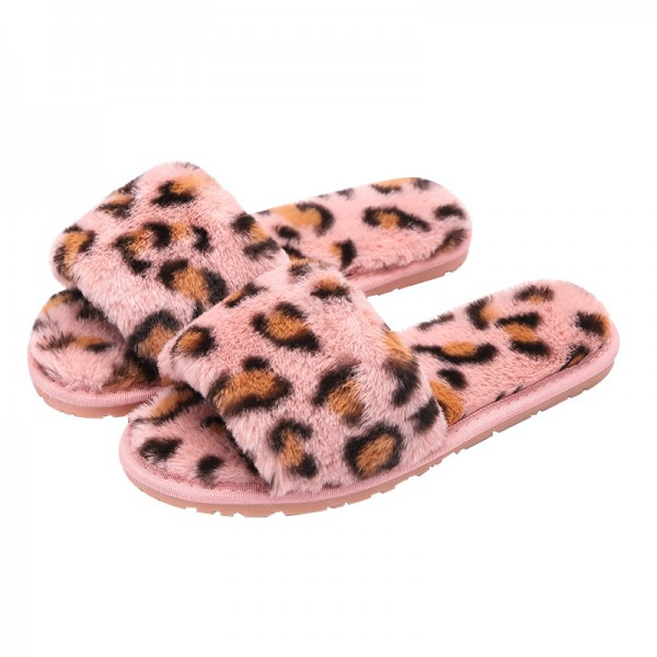 Chic Leopard Plush Womens Slippers Open Toe Pink Fuzzy Slippers