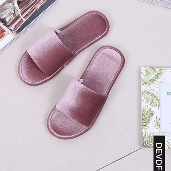 Women's Velvet Slippers Glossy Memory Foam House Slippers