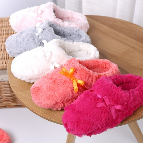 Elegant Womens House Slippers Pink Fuzzy Scuffs with Hoodback