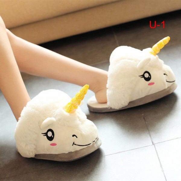 Unicorn Slippers for Adults and Kids Plush Animal Shoes