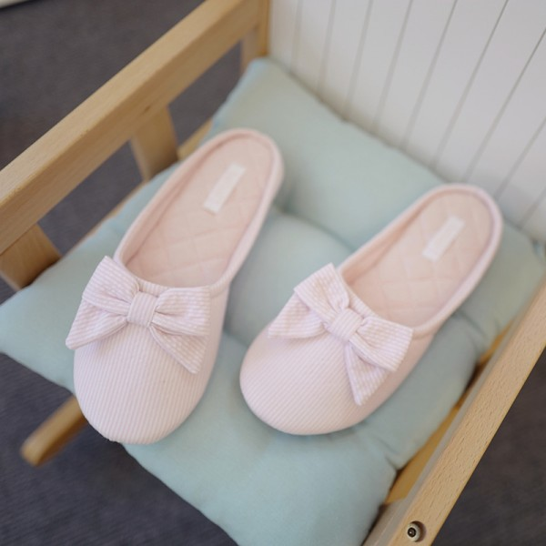 Memory Foam Womens House Slippers Cute Bow Stripe Ladies Slippers