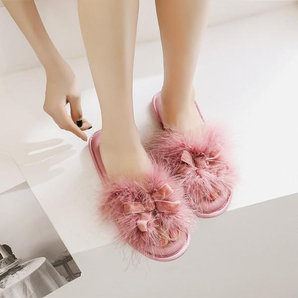 Women's Fuzzy Slippers Bow Memory Foam House Slippers