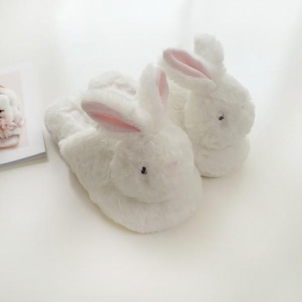 Cute Bunny Slippers Women's Open Heel Fuzzy House Slippers